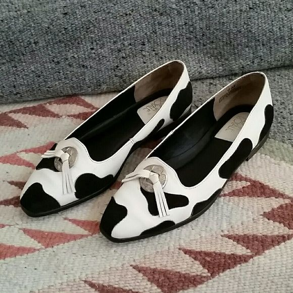 Prima Royale Moo Flats Cute vintage moo flats. Size is a 6, but runs small, does fits more like a 5 1/2. White leather with black suede pattern. Gently worn and greatly loved. Prima Royale  Shoes Flats & Loafers