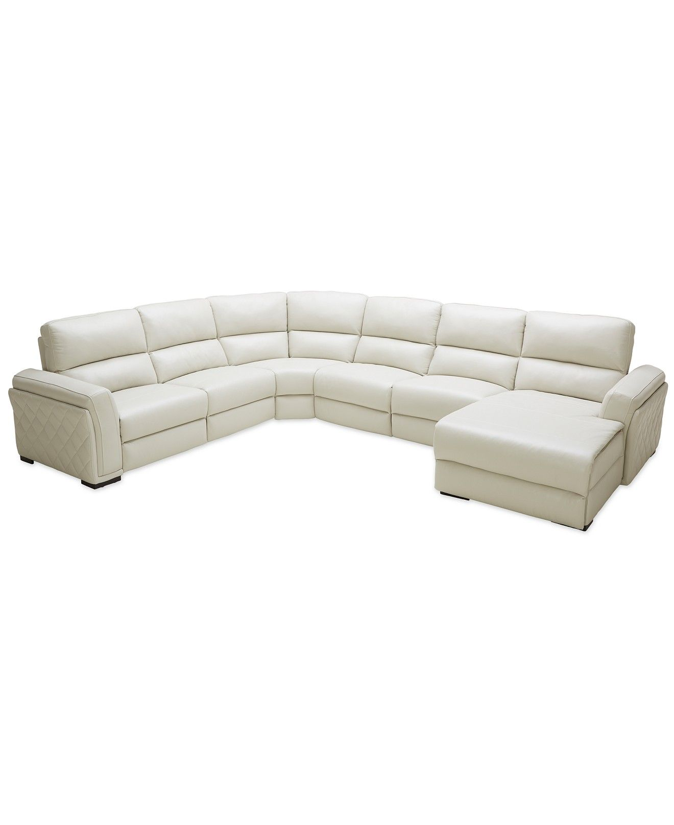 Jessi 6 pc Leather Sectional Sofa with Chaise with 2 Power