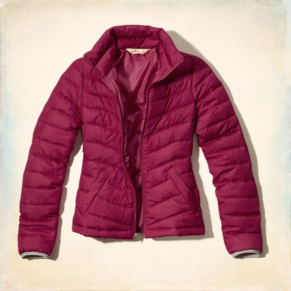 Hollister!Ladies New Dark Pink Polyester Zipper Puffer Jacket ...