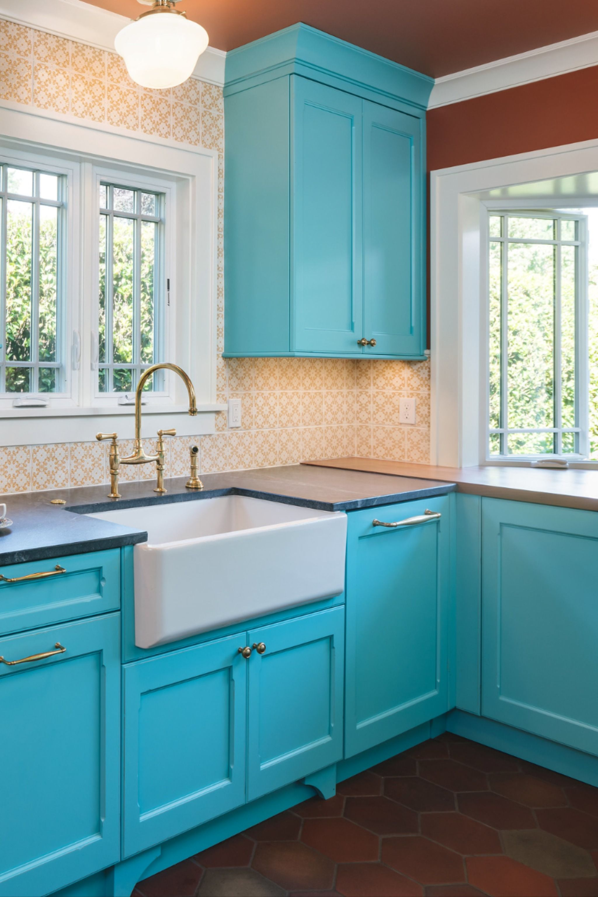 Bold Turquoise Kitchen Remodel In 2020 Bold Kitchen Kitchen Cabinets Decor Kitchen Remodel