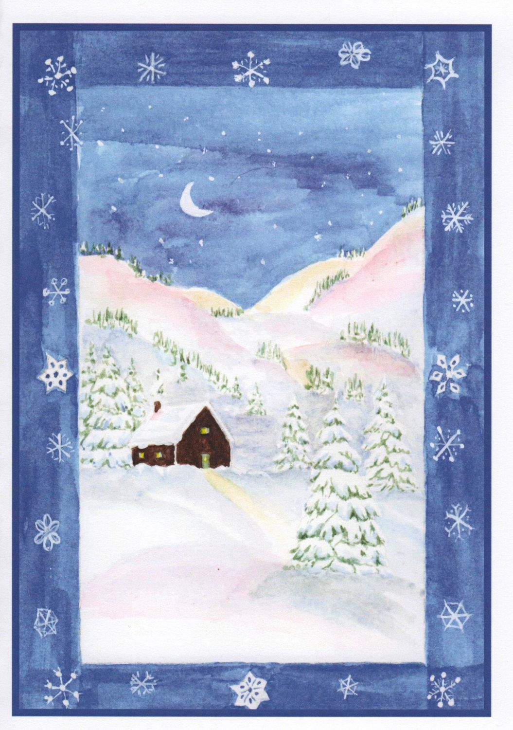 Mountain Christmas Cards.Christmas Card Winter Cabin In Mountains Inside Of Card