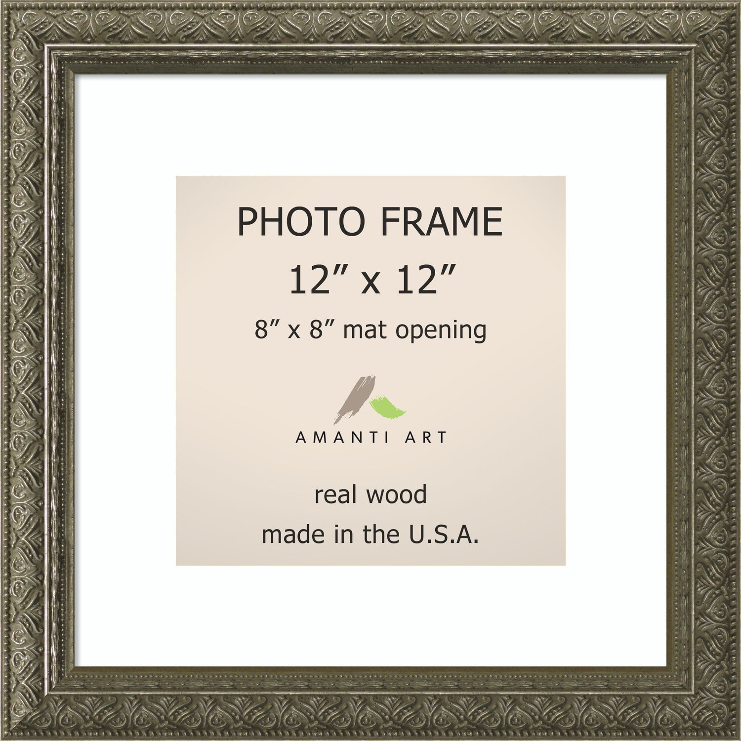 Barcelona Pewter Photo Frame 12x12 Matted To 8x8 14 X 14 Inch Picture Frame Sizes Photo Frame Black Picture Frames