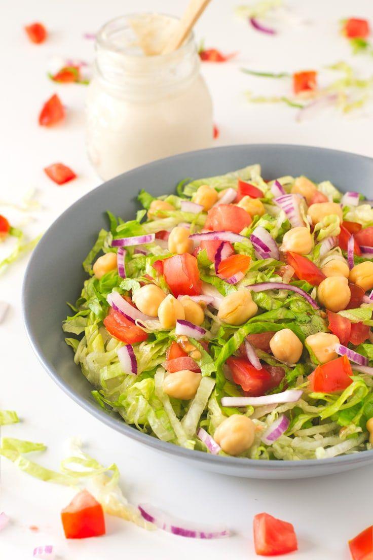 Simple Salad with Oil Free Tahini Dressing Recipe in