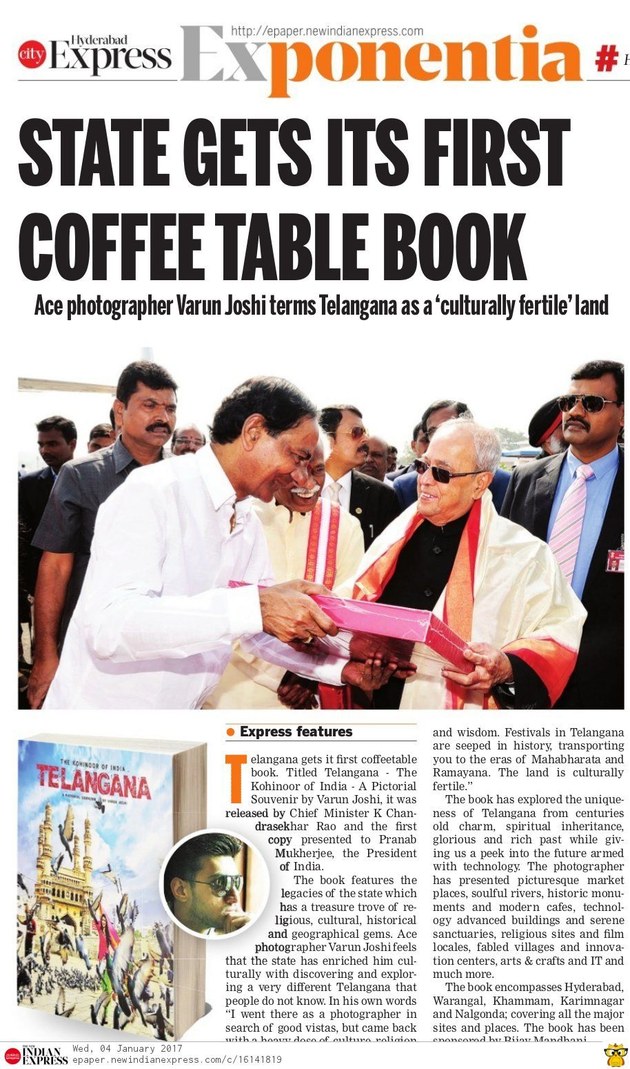 telangana state gets its first copy of coffee table book titled