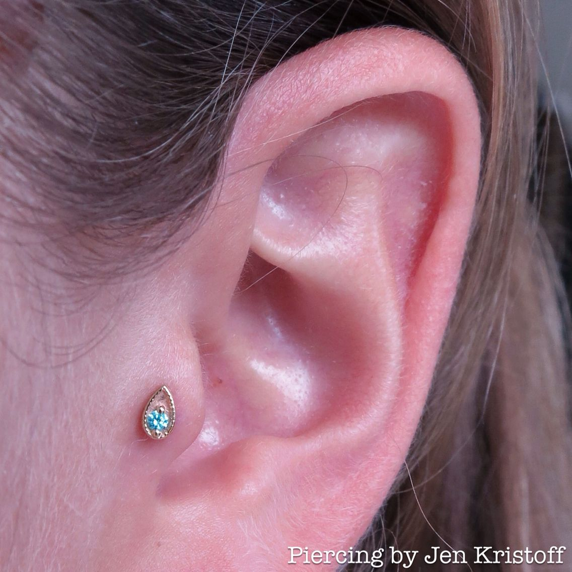 Tragus piercing with yellow gold jewelry by BVLA Earrings Pinterest
