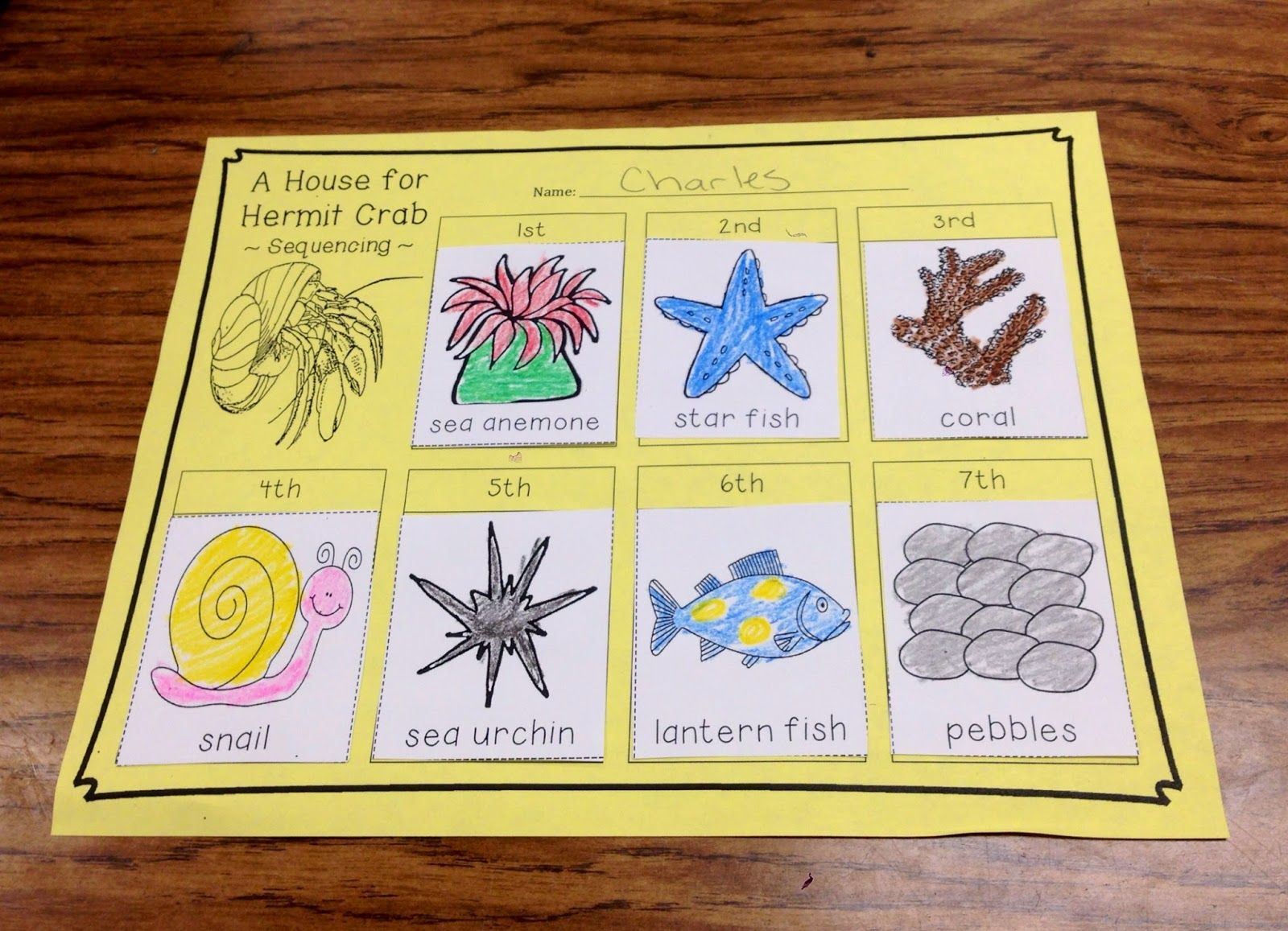 a house for hermit crab writing activity for preschoolers