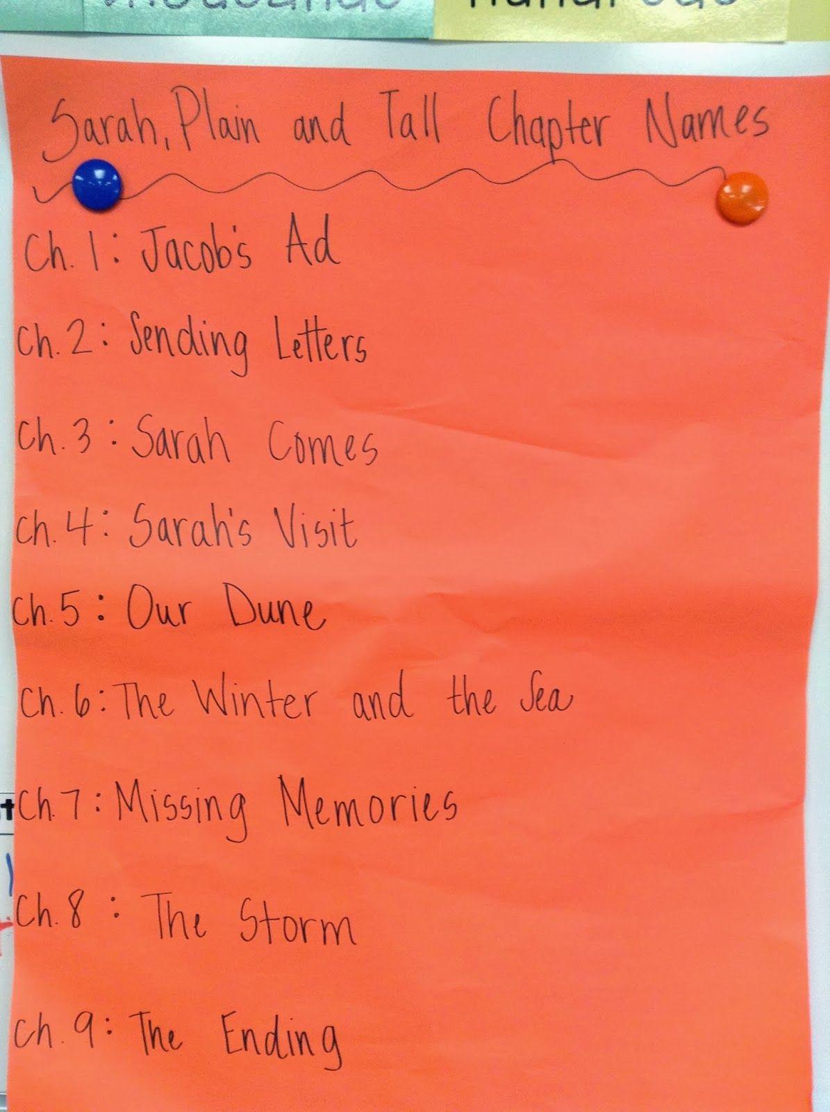 Sarah Plain And Tall Create Chapter Names