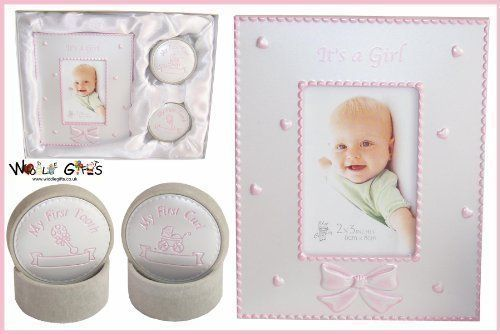 White Cotton Cards 3-in-1 Baby/'s First Tooth//Curl//Hospital Bracelet Box Pink