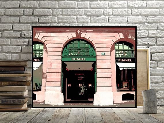 Chanel Paris Store Picture Outside Storefront Wall Decor Print Or Canvas  Option Pink Peach