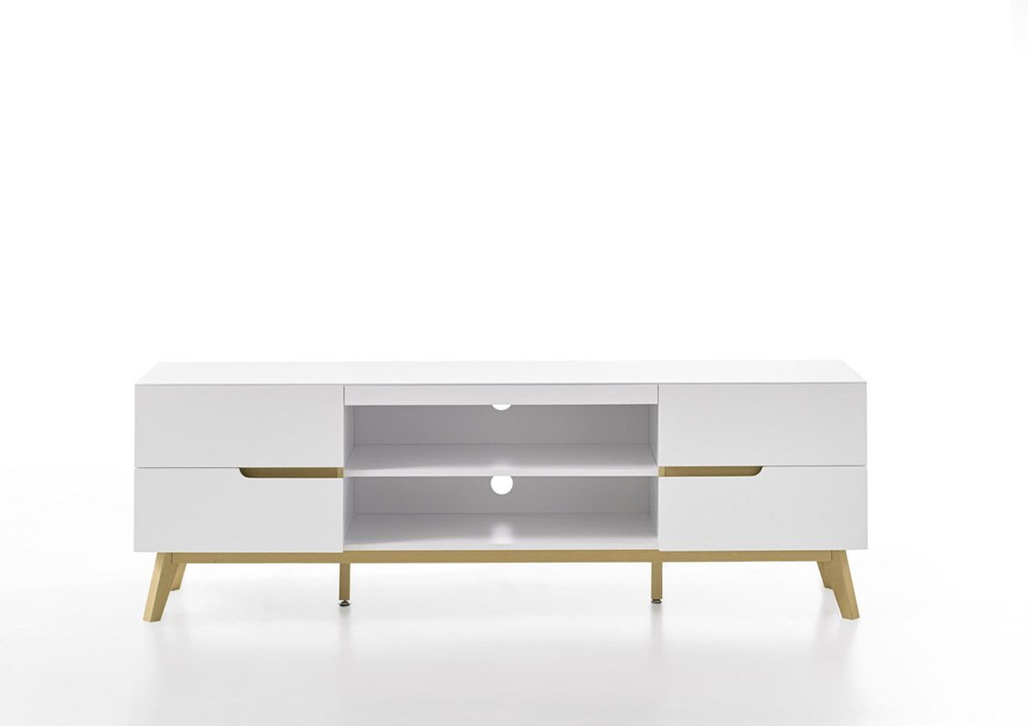 Modern White TV Stand with Oak Legs | Table and casegoods ...