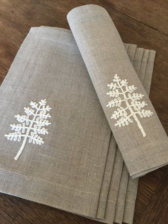 Linen placemats set of 6 table linen tabletop fabric placemats crocheted applique handmade - Individuales para mesa ...