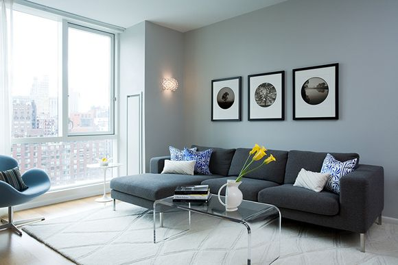 Gray U0026 Blue Modern City Living Room Design With Charcoal Sofa With Chaise  Lounge, Lucite Acrylic Coffee Table, Photo Gallery And Cream Wool Rug!
