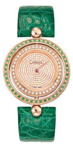 Versace Women's 79Q861D91F S220 Eon IP Rose-Gold Diamond Green Leather Watch