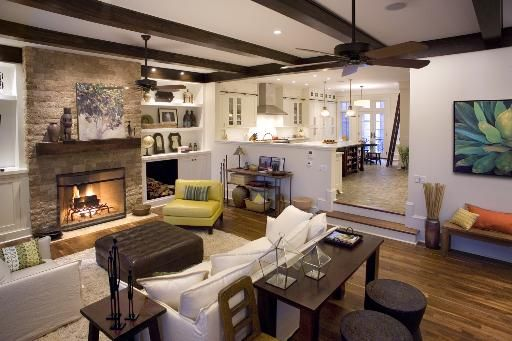 Great Kitchen Family Room Like The Steps Down Into The