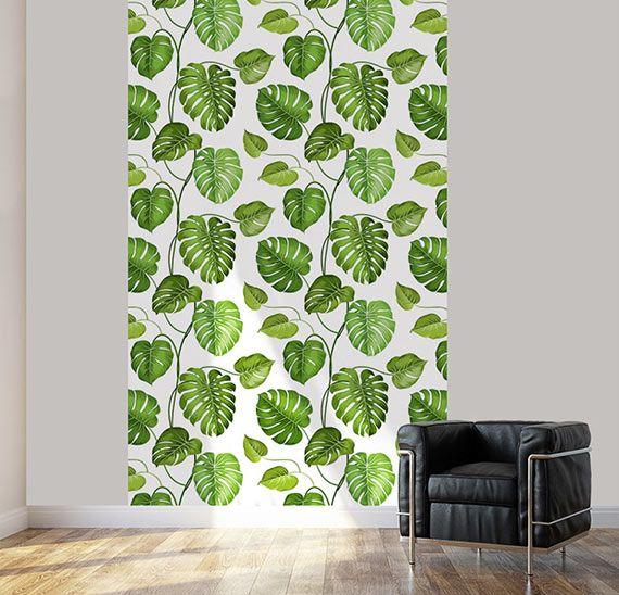 Lé unique de papier peint philodendron décor tropical scenolia