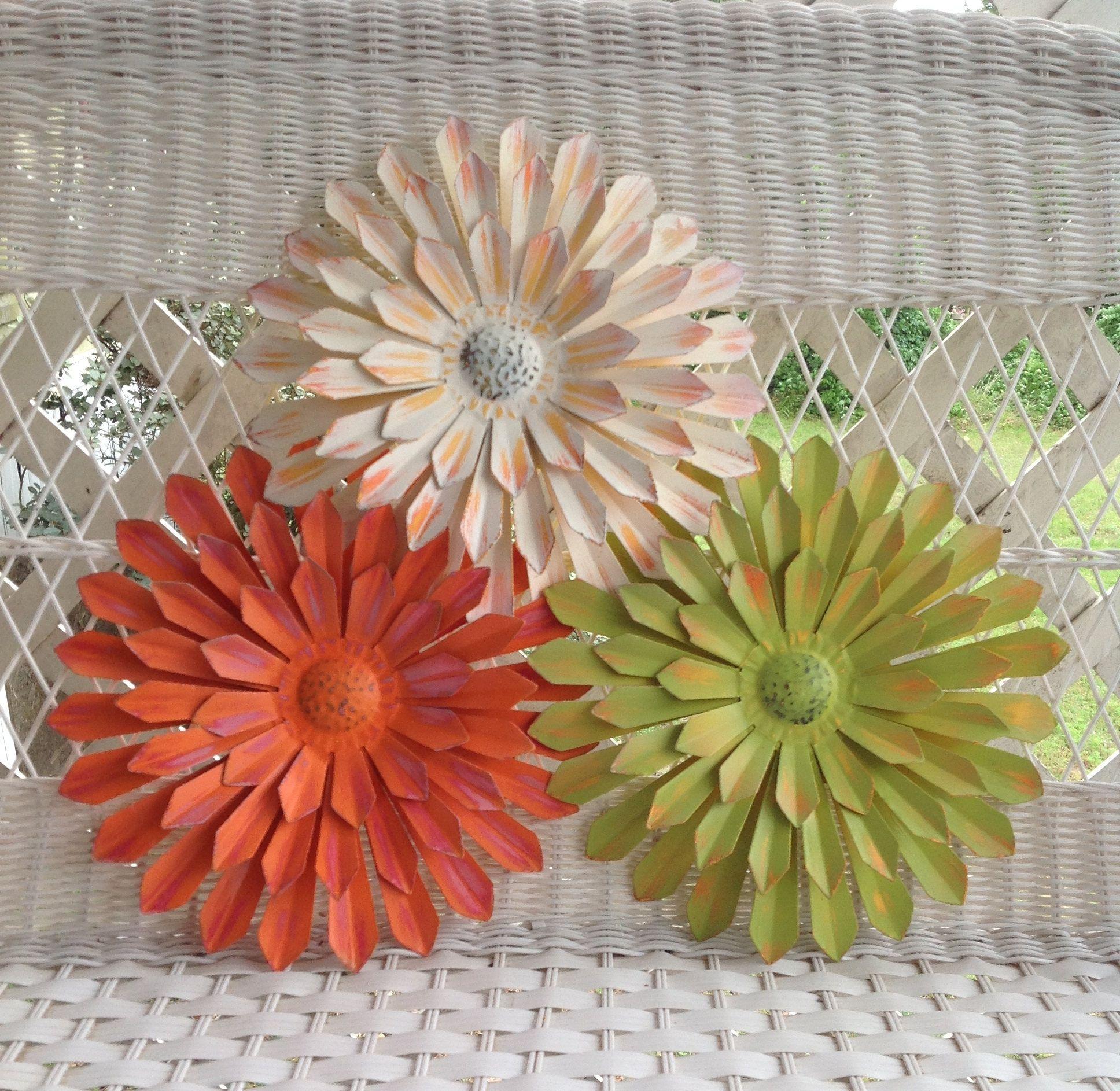 "12"" Metal Flower Wall & Fence Decor White/Orange/Green"