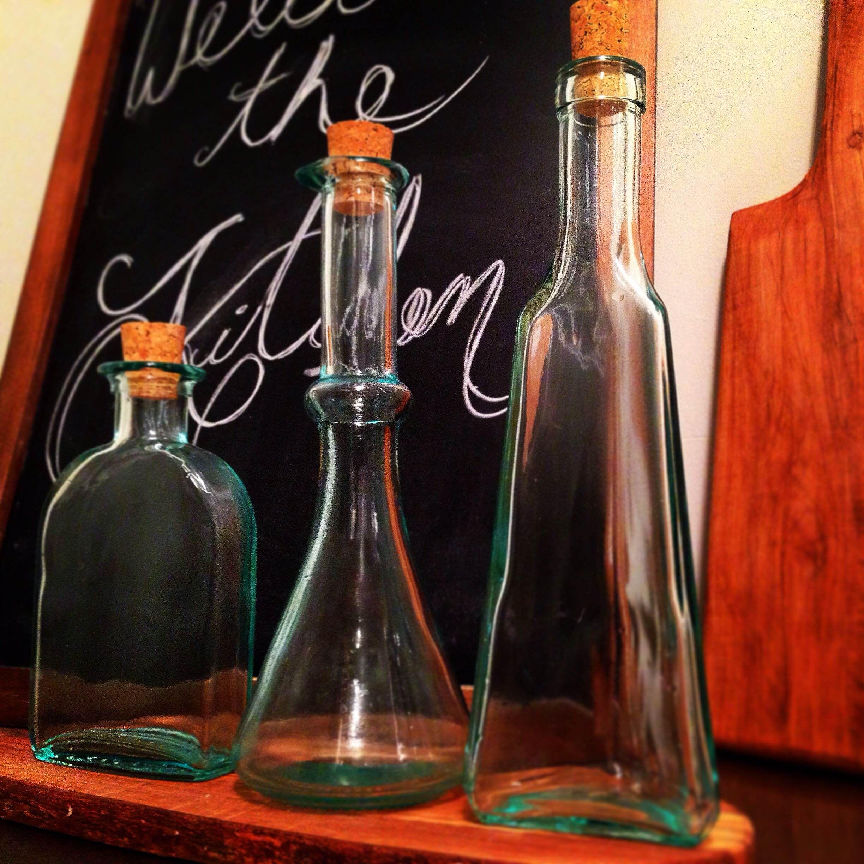 Thrift Shop Find. #bottles #italianglass #greenglass #vintagebottles #kitchendecor