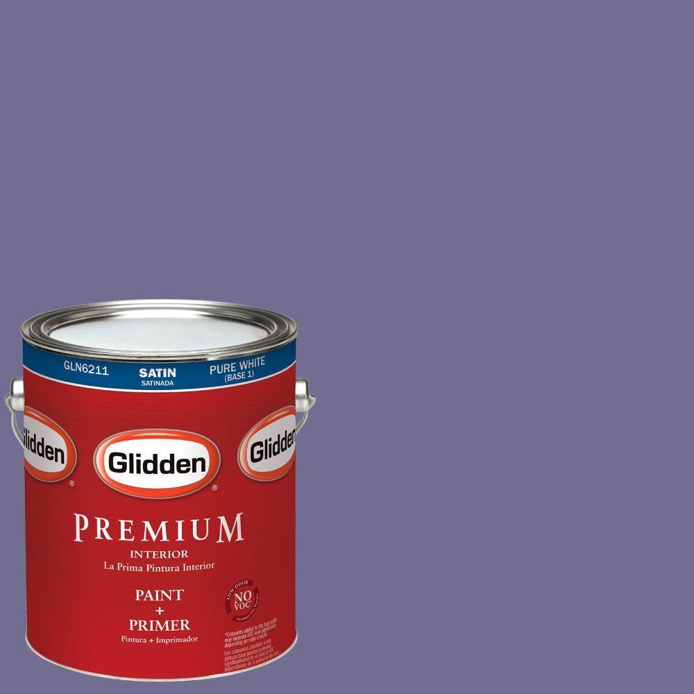 Glidden Premium 1-gal. #HDGV47 Garden Violets Satin Latex Interior Paint with Primer
