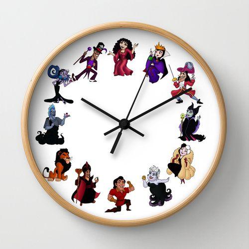 Time To Be A Villain Wall Clock Disney Room Decor Disney Themed
