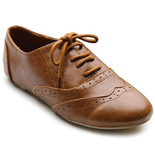 Ollio Women's Shoe Classic Lace Up Dress Low Flat Heel Oxford(5.5 ...