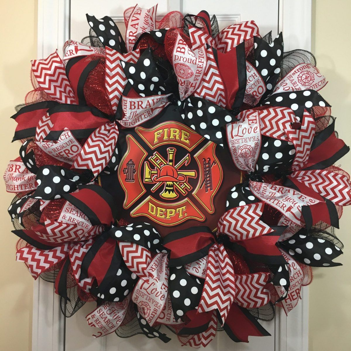 Firefighter wreath sign,