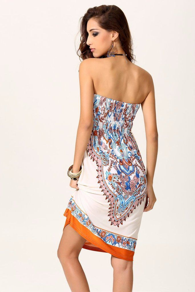 Fashion Comfortable Strapless Bohemian Style Beach Dress Coverup 4 Colors One Size