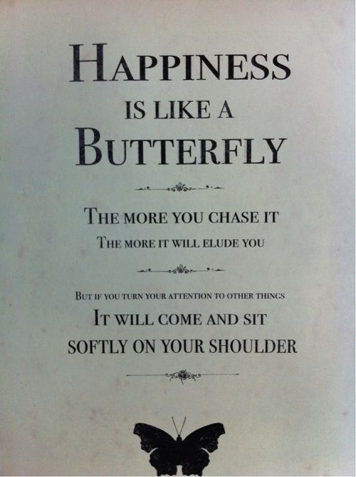 Happiness is like a butterfly, the more you chase it, the more it will elude you. But if you turn your attention to other things, it will come and sit softly on your shoulder.