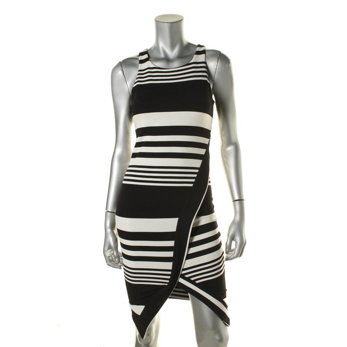 Bar III Womens Polyester Striped Evening Dress