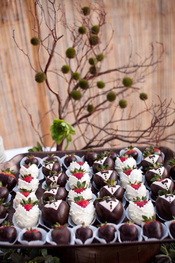 Chocolate covered strawberries decorated like bride and groom ...