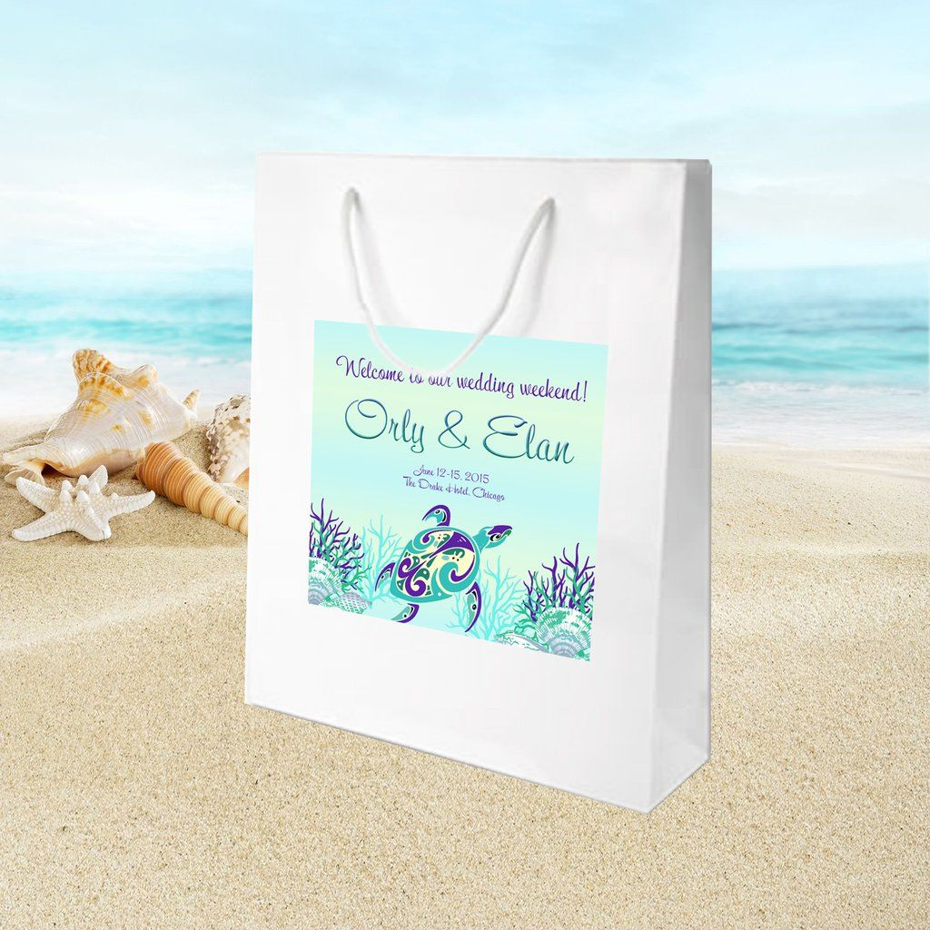 beachwedding #seaturtle white gloss welcome bag for hotel guest ...