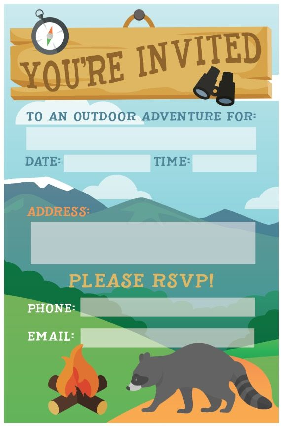 photograph relating to Free Printable Camping Birthday Party Invitations referred to as Tenting Birthday Celebration Invite: Totally free Printable - invite