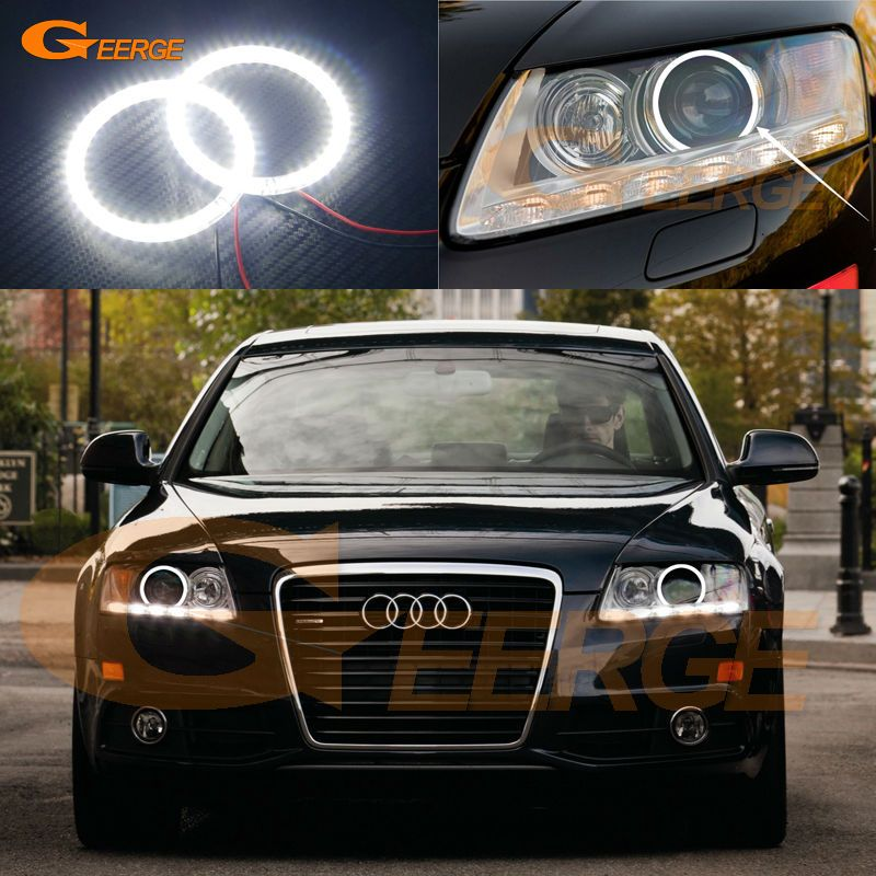 For Audi A6 S6 Rs6 2009 2010 2011 Xenon Headlight Excellent Ultra Bright Illumination Smd Led Angel Eyes Kit Halo Ring Car Lights Audi A6 Audi