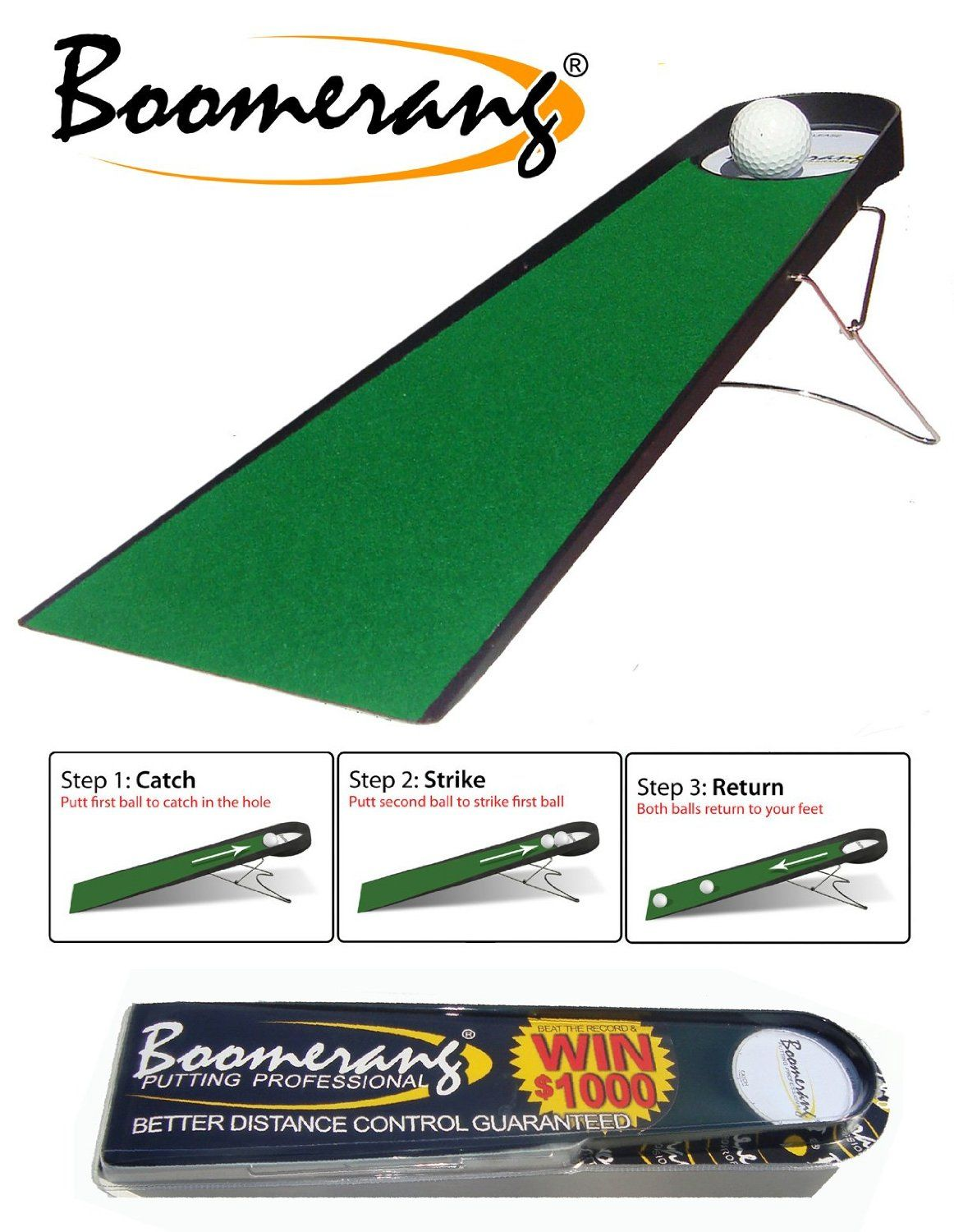 Including a 3m troon dual speed putting mat this putting pro indoor golf putting aid by Boomerang delivers very accurate feedback on your stroke