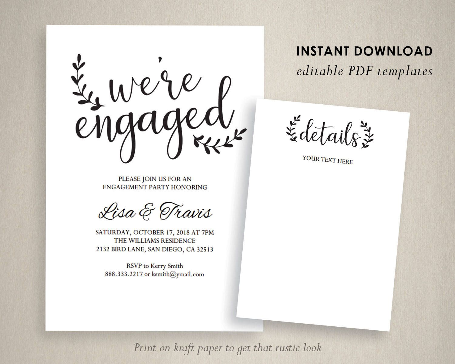 Engagement party invitation template We are engaged | Rustic Wedding ...