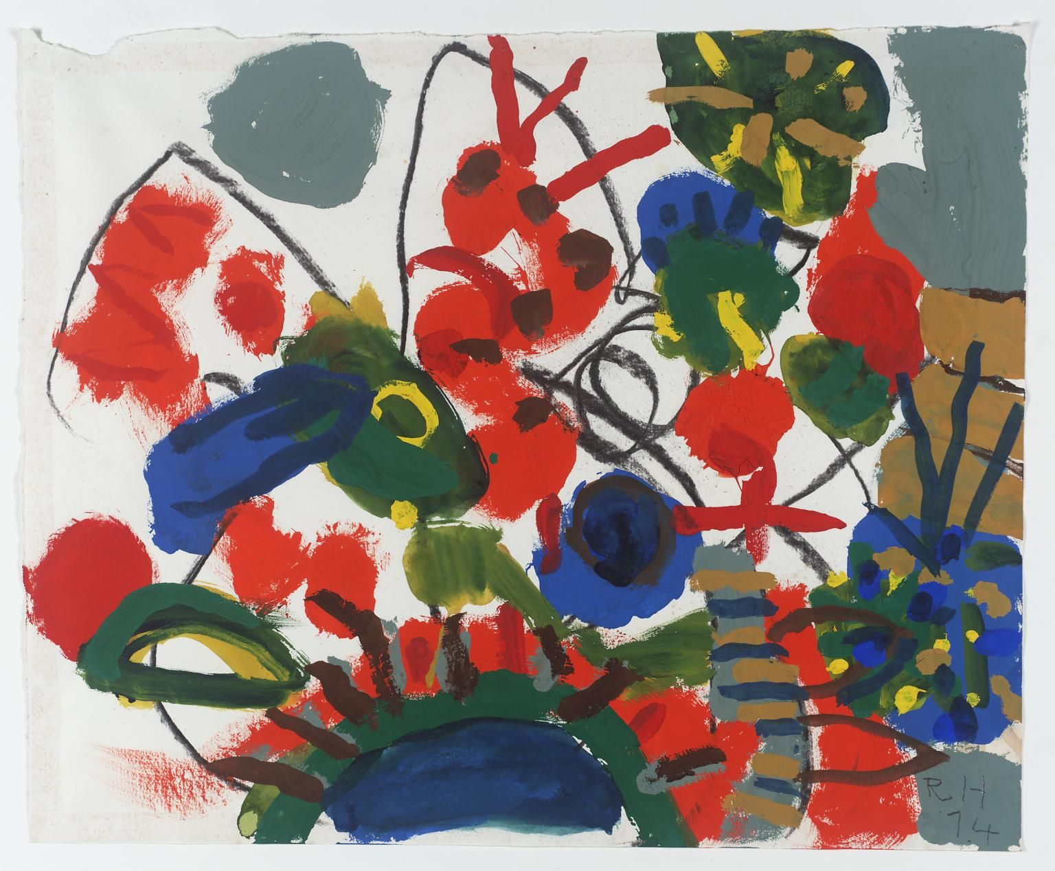 Image result for roger hilton foliage with orange caterpillar 1974