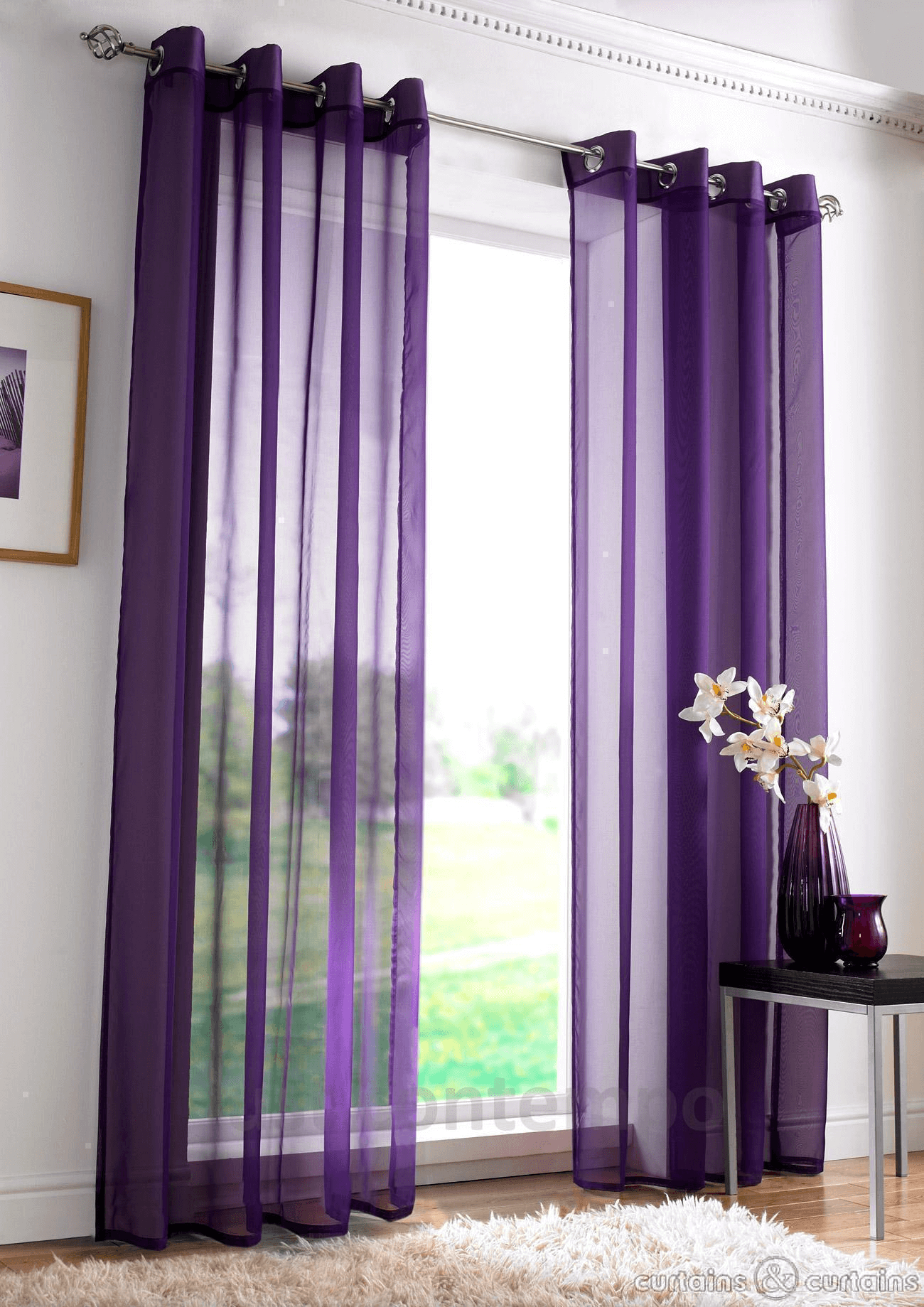 Purple Curtains For Modern Living Room Design Ideas Purple Living Room Purple Curtains Purple Rooms