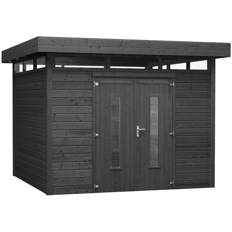 Abri toit plat 9m² en bois traité autoclave anthracite Bear County ...
