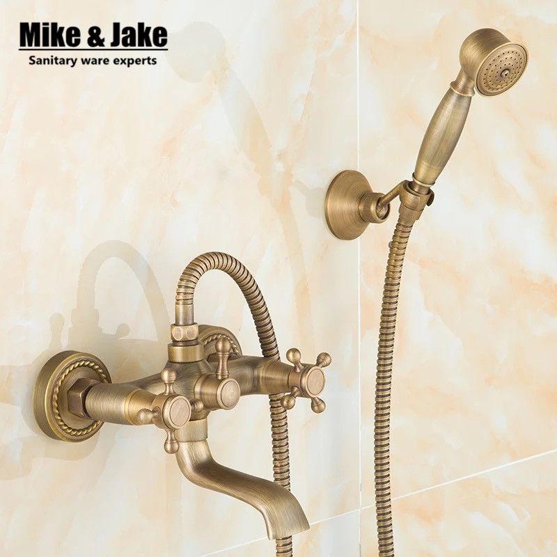 Antique Wall Shower Mixer Set Europe Style Bath Mixer Simple Shower Set With Hand Shower Antique Shower Set Bathroom Shower Faucets