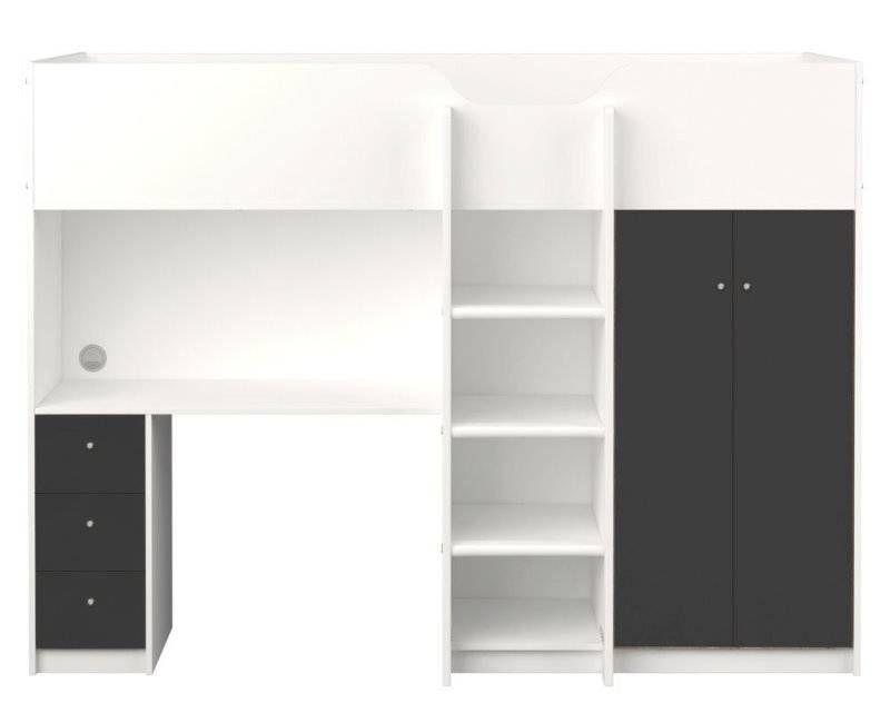 Hoogslaper irma grijs wit met opbergkast planken bureau en lades