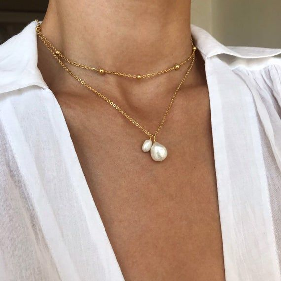 Photo of Pearl necklace, Freshwater pearl, Dainty pearl necklace, Timeless, Delicate pearl necklace, 14k gold necklace, pearl charm necklace