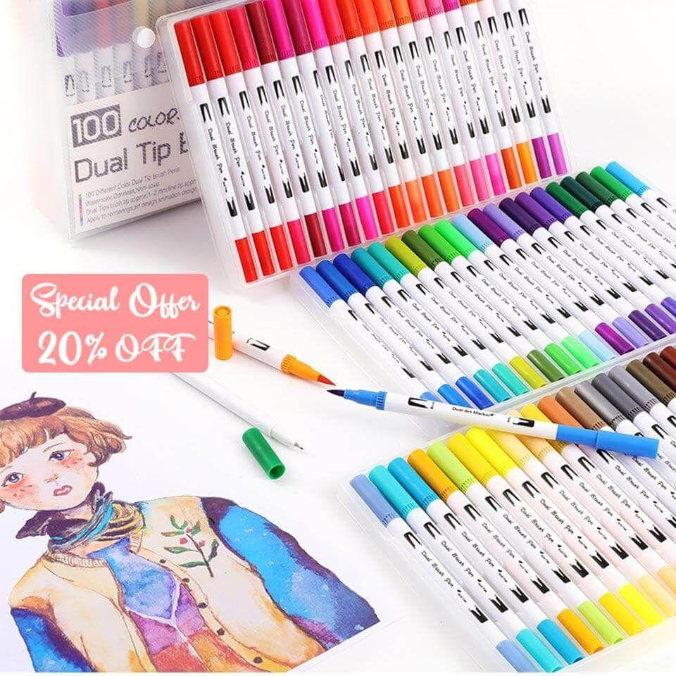 Watercolor Brush Pen Paper Pad Bundle Paint 24 Colors Dual Tip Set gift for wife