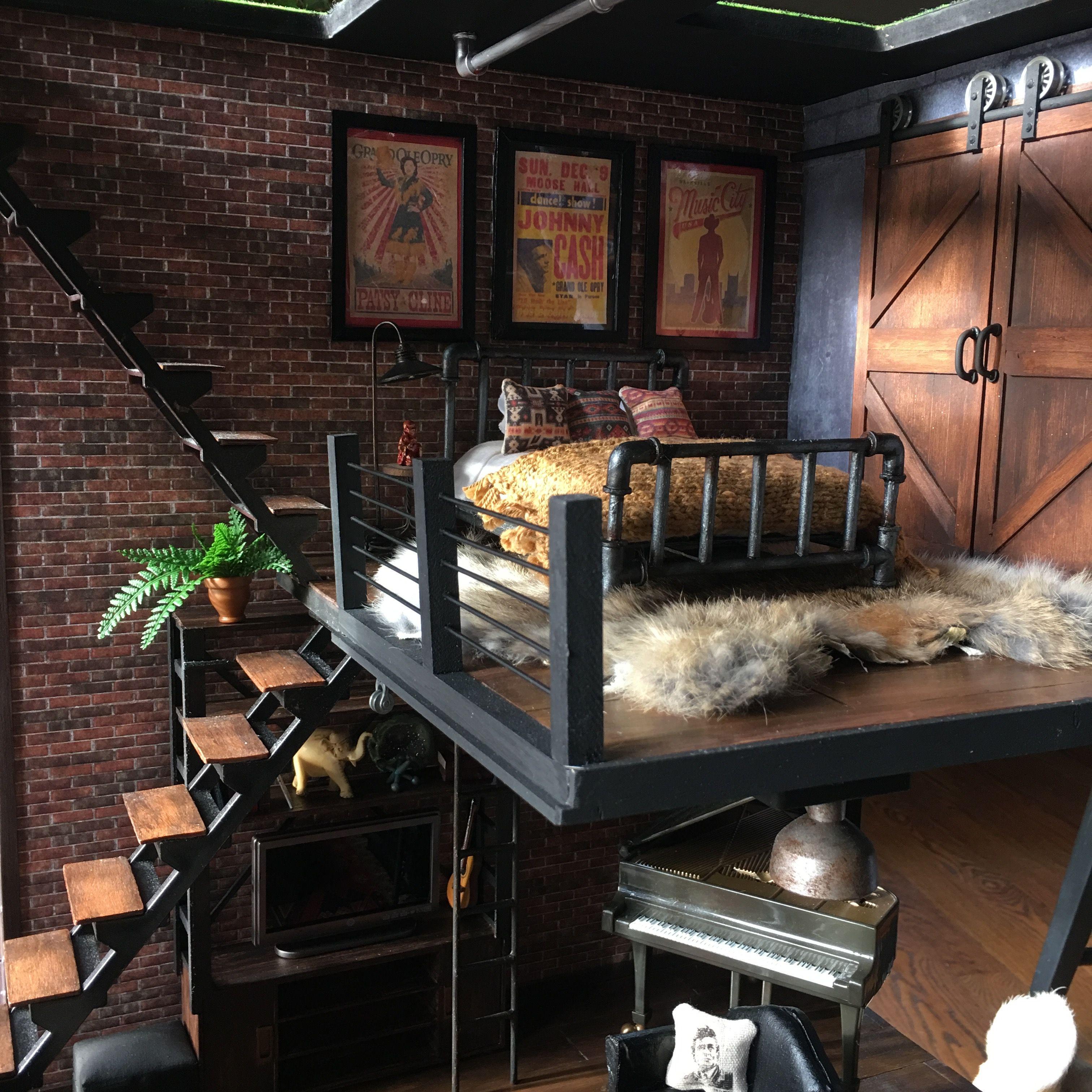 Lori Dollhouse Loft To Love Dollhouse Remodel Modern Dollhouse Miniature Barn Doors Diy Door Diy Barn Door Miniature Rooms
