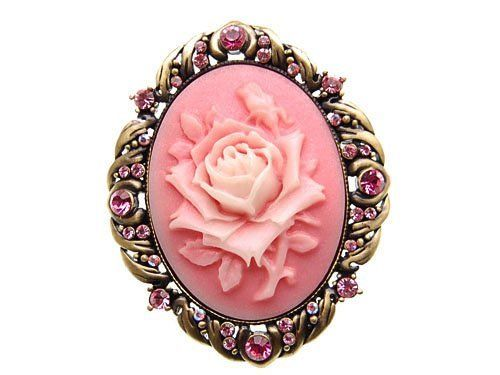 Vintage Antique Reproduct Rose Pink Crystal Flower Cameo Pin Brooch KjsmJ