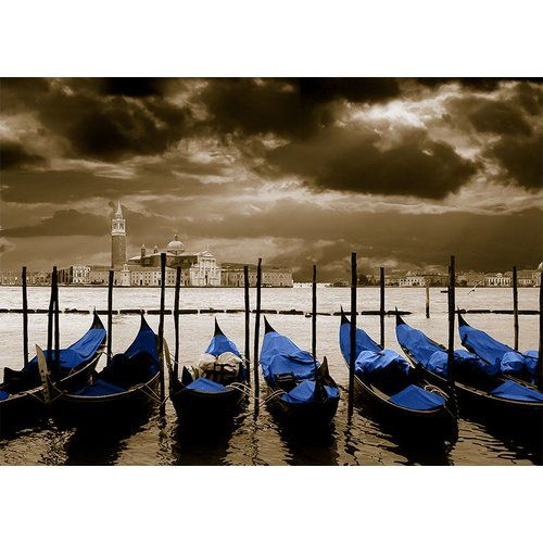 Photo of Glass picture Around the World Venice, graphic print in blue East Urban Home size: 40 cm H x 120 cm W x 0.5 cm D, color of the wall mounting: gold