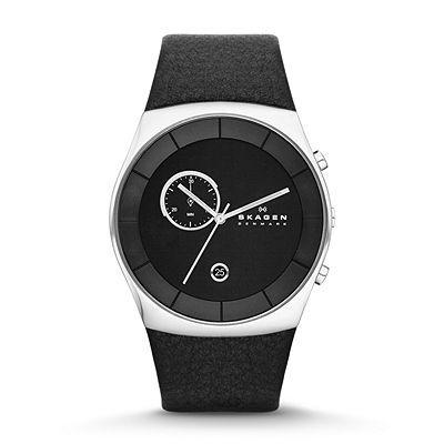 Skagen Klassik Men s Three-Hand Multifunction Leather Watch - Black SKW6070   0143eca6d759