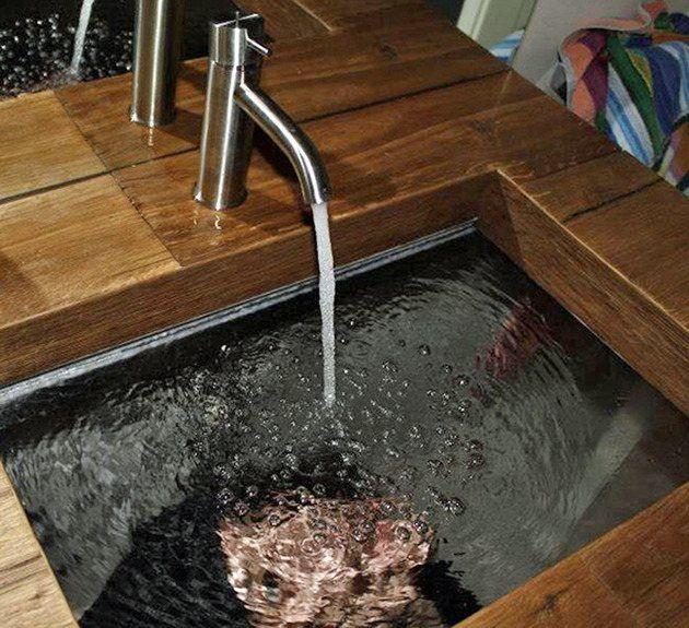 Holz Waschtisch Glas Waschbecken Transparent Rustikales Bad