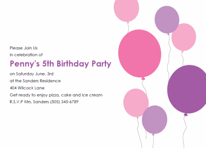 balloon birthday party invitation – Printable Kids Birthday Party Invitations