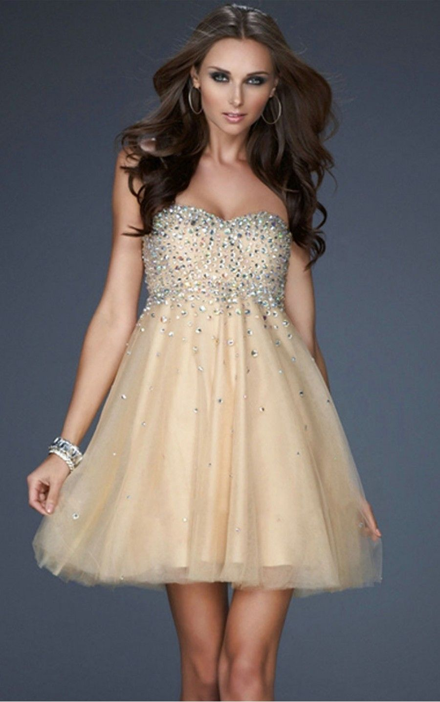 Champagne Princess Short Sweetheart Dress [Dresses 9774] - $142.00 ...