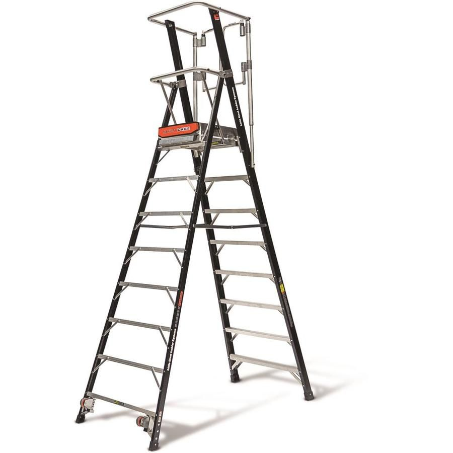 Little Giant Ladders Safety Cage 7 6 Ft Fiberglass Type 1aa 375 Lbs Capacity Platform Step Ladder 19608 In 2020 Little Giants Step Ladders Ladder