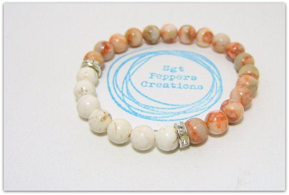 "Magnesite & Red Vein Jasper Gemstone Bracelet ~ 8mm Gemstones ~ Silver Rhinestone Spacer Beads ~ stretch  7.5"" www.sgtpepperscreations.etsy.com #sgtpepperscreations #handmadejewelry #etsy"